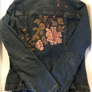 Calvin Klein Jeans Floral Embroidery Jean Jacket